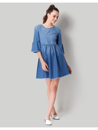 Blue Denim Bell Sleeve Short Skater Dress