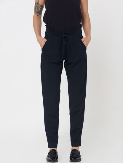 Blue Mid Rise Paper Bag Waist Ankle Length Pants