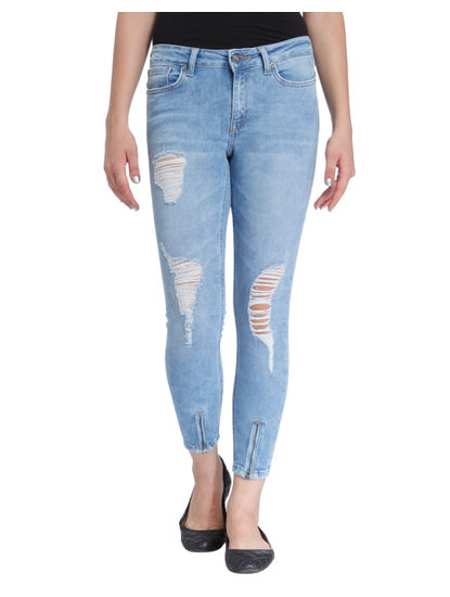 Light Blue Distressed Super Low Waist Skinny Fit Jeans
