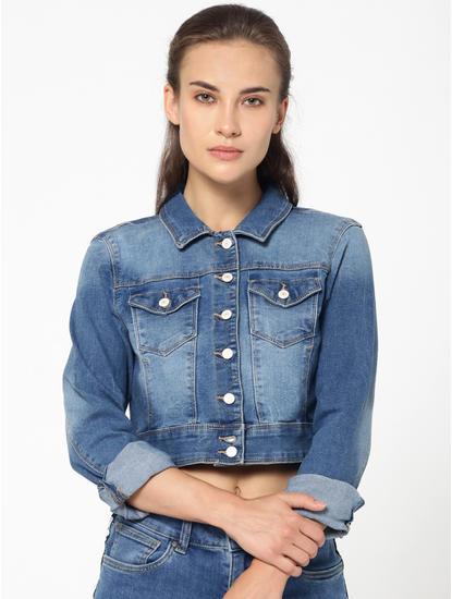 Blue Denim Cropped Jacket