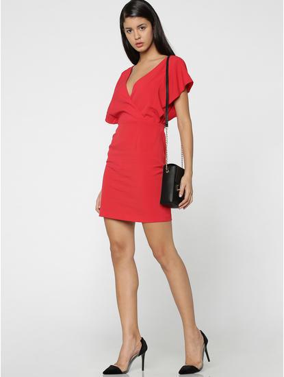 Red V-Neck Mini Dress
