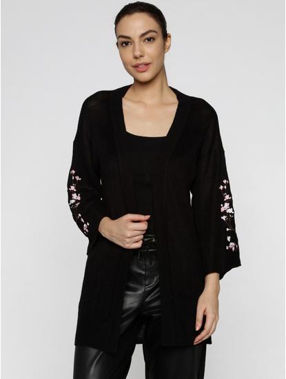 Black Floral Embroidered Cardigan