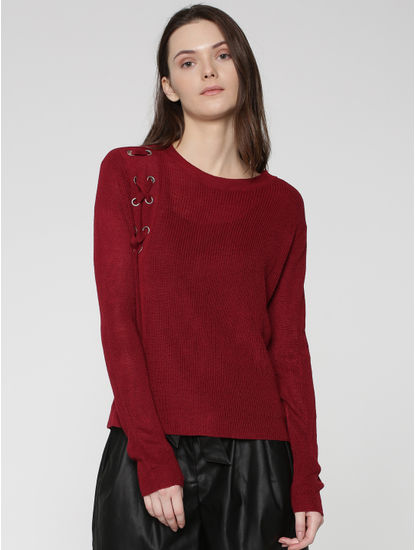 Red Eyelet Detail Pullover