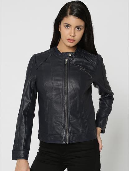 Dark Blue Faux Leather Biker Jacket