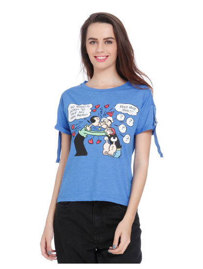 X Popeye Blue Popeye and Olive Oyl Print Top