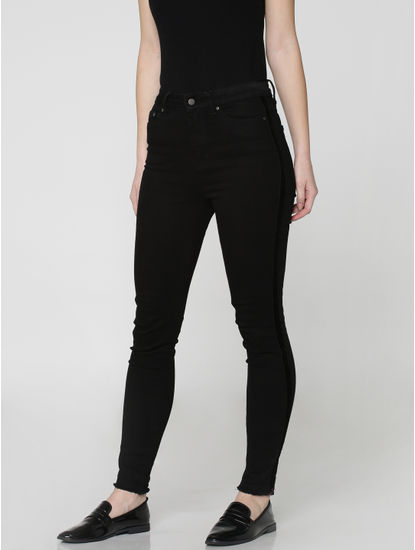 Black High-Rise Ankle Length Regular Fit Jeans
