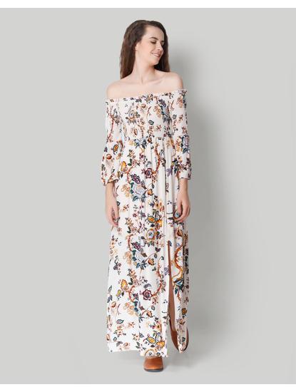 White Floral Off Shoulder Maxi Dress