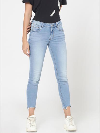 Light Blue Mid Rise Ankle Length Slim Fit Jeans