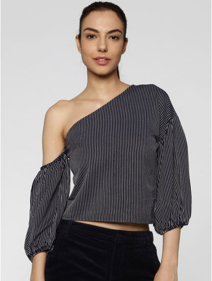 Navy Blue Striped One Shoulder Balloon Sleeves Cropped Top