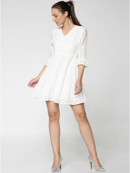 White Cut Work Embroidery Bell Sleeves Fit & Flare Dress