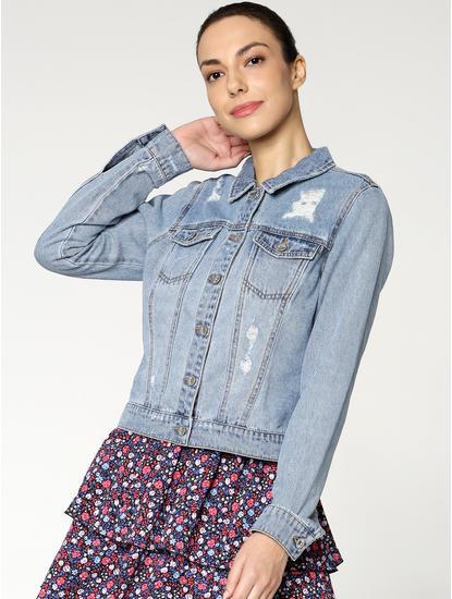 Light Blue Distressed Cropped Denim Jacket