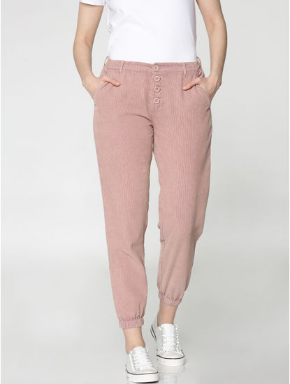 Pink Mid Rise Washed Ankle Length Regular Fit Corduroy Joggers