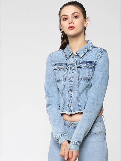 Blue Washed Cropped Denim Jacket