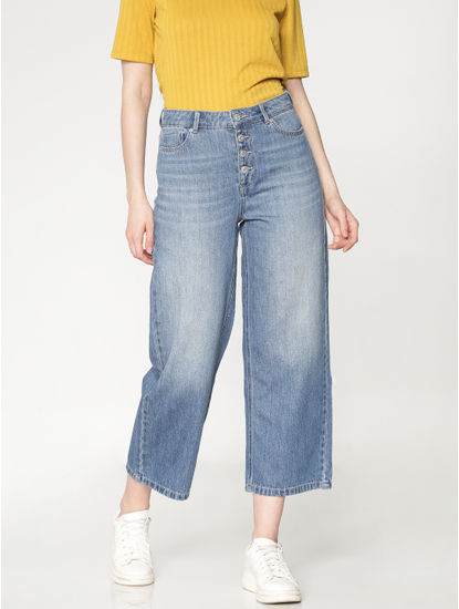 Blue High Rise Washed Wide Leg Comfort Fit Jeans