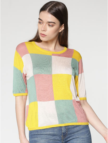 Green Colour Blocked Checks Print Pullover