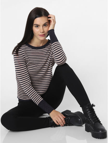 Navy Blue Striped Pullover