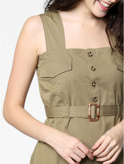 Green Belted Utility Shift Dress