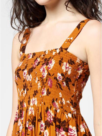 Orange Floral Print Fit & Flare Dress