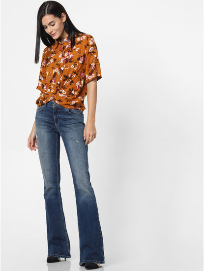Orange Floral Print Twist Shirt