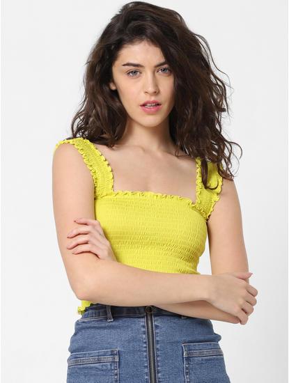 Yellow Smock Crop Top