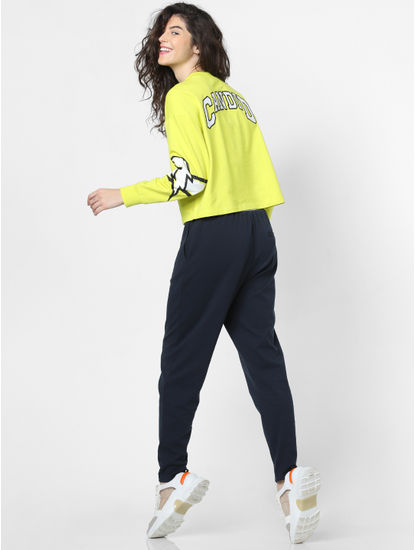 Neon Yellow Printed Sleeves Sweatshirt