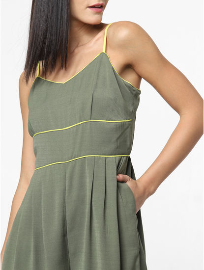 Green Wide Leg Spaghetti Jumpsuit