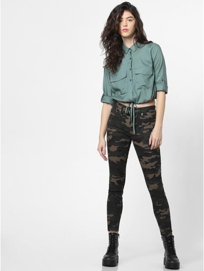 Green Drawstring Detail Shirt