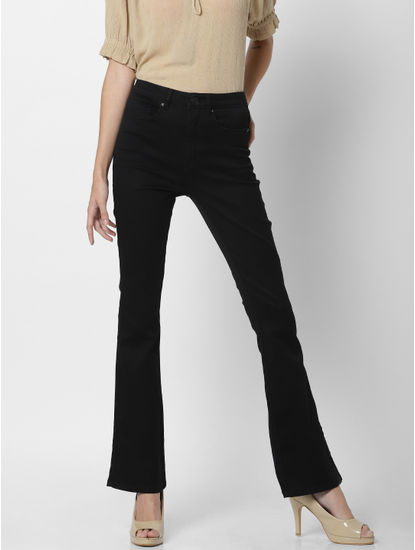 Black Mid Rise Flared Jeans
