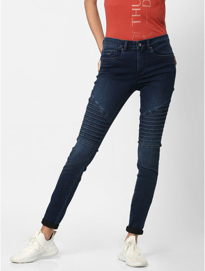 Blue Mid Rise Pin-Tuck Panel Skinny Jeans