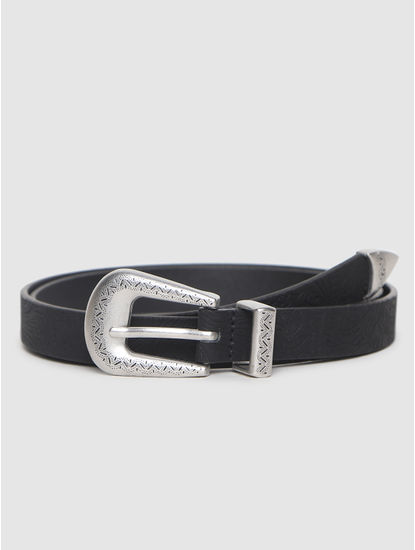 Black Silver Buckle Belt