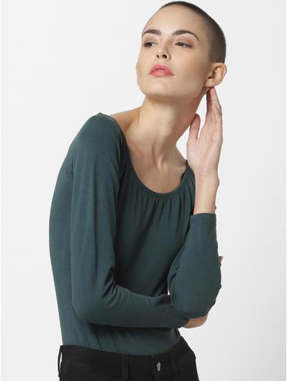 Green Off Shoulder Bodysuit