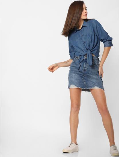 Blue Slim Denim Shirt