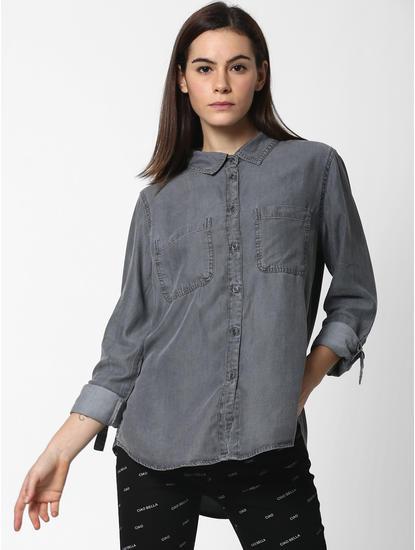 Dark Grey Slim Denim Shirt