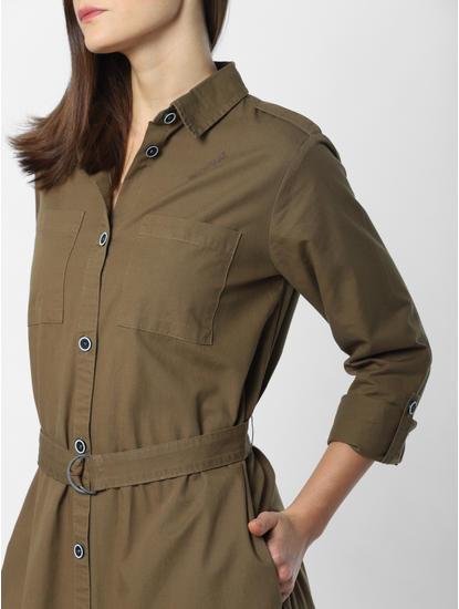 Dark Green Belted Shirt Dress