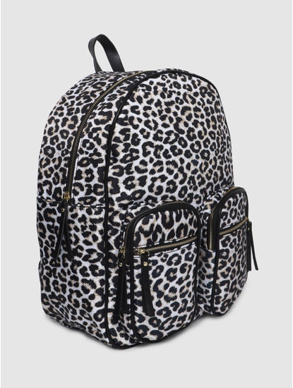 White Animal Print Backpack
