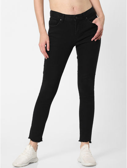 Black Mid Rise Side Slit Skinny Jeans
