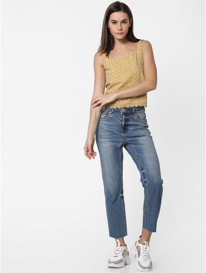 Blue High Rise Raw Edge Straight Fit Jeans