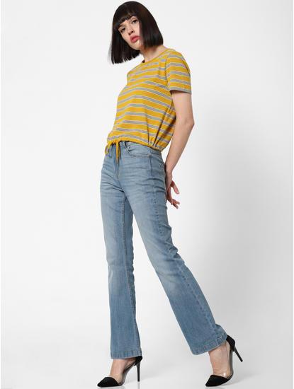Yellow Striped Drawstring T-shirt