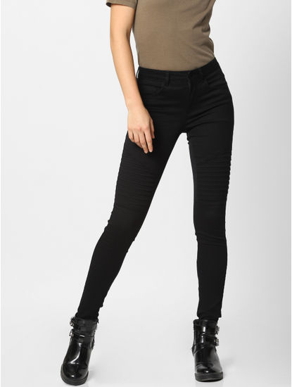 Black Mid Rise Slim Fit Biker Jeans