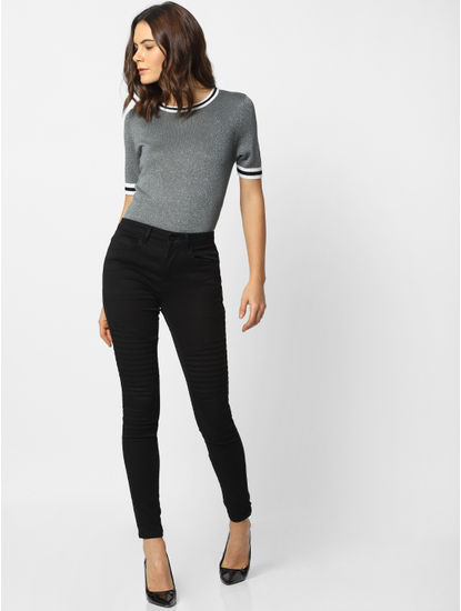 Grey Lurex Ribbed Collar Pullover