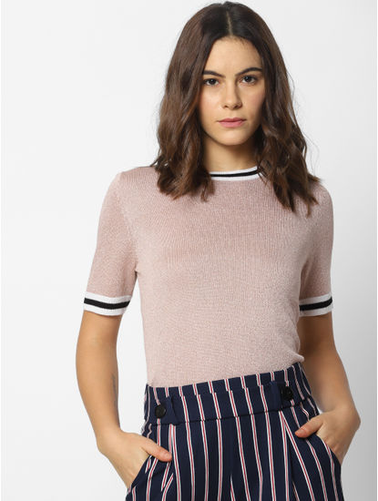 Beige Shimmery Ribbed Collar Pullover