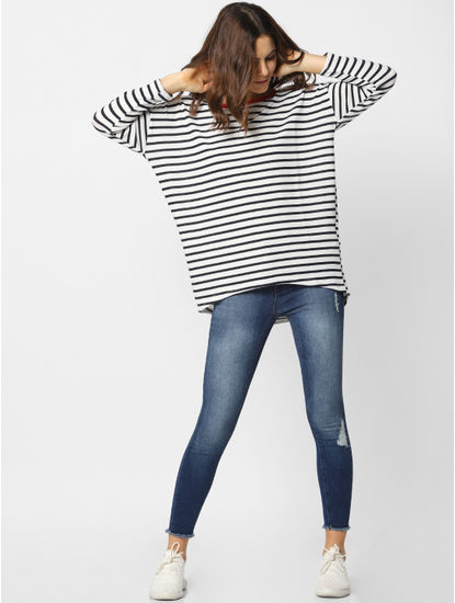 Black And White Striped Long Top