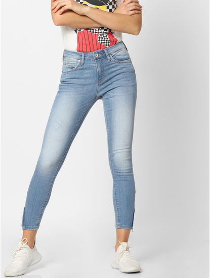Light Blue Mid Rise Zip Detail Skinny Fit Jeans