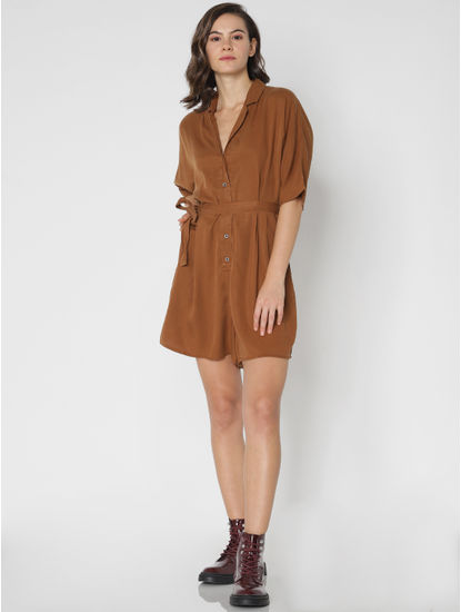 Chocolate Brown Belted Playsuit