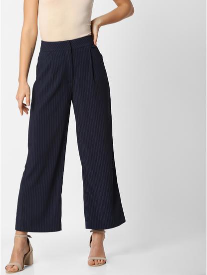 Dark Blue Striped Wide Leg Cropped Pants