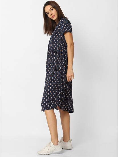 Dark Blue All Over Print Button Down Midi Dress
