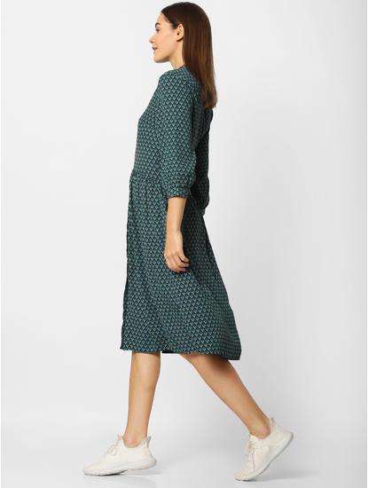 Green and Black Printed Midi Dress
