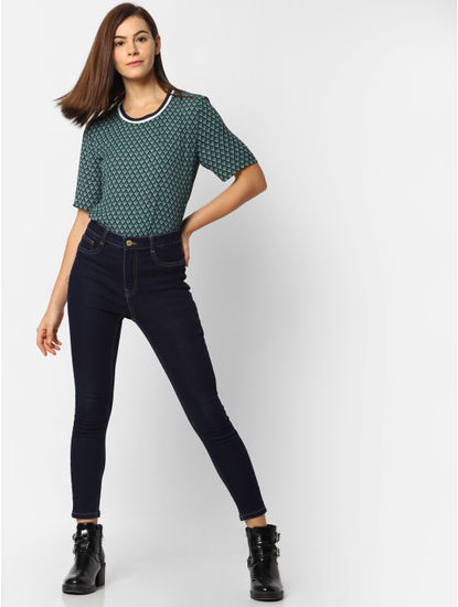 Dark Blue High Waist Skinny Fit Jeans