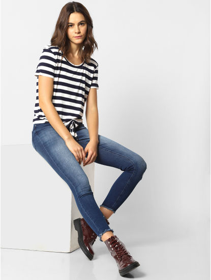 Black and White Striped Knot Top