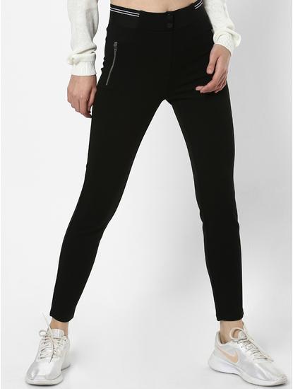 Black Zip Detail Skinny Leggings